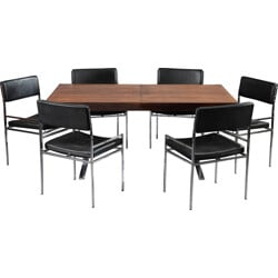 Dining table with 6 chairs in wood and leather, Poul NORREKLIT - 1960s