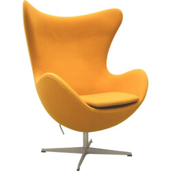 "Fritz Hansen ""Egg"" yellow cotton armchair, Arne JACOBSEN - 2000s"