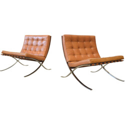 Knoll International  pair of two brown leather Barcelona Chair, Mies VAN DER ROHE -  1990s