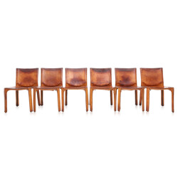 "Cassina ""CAB 412"" set of six brown leather Dining Chairs, Mario BELLINI - 1970s"