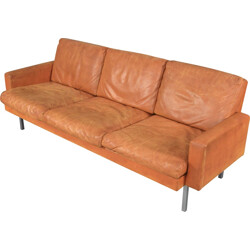 Spectrum 3-seater sofa in brown leather and chromed metal, Martin VISSER - 1960s