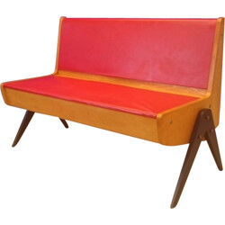 Eka Möbel vintage bench with compass feet - 1950s