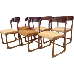 Baumann set of 6 sledge chairs in rosewood - 1950s