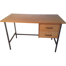 Desk with two drawers in wood and metal - 1960s