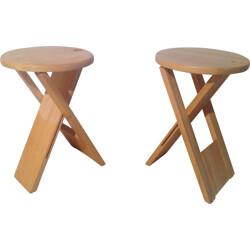 Pair of two wooden stools, Roger TALLON - 1980s