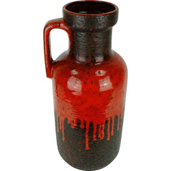 "Carstens ""7604-45"" vintage black vase with red drip glaze - 1960s"