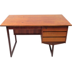 Scandinavian desk in teak on sled base - 1970s