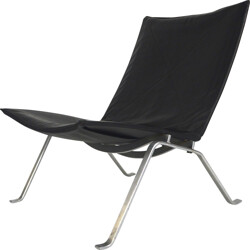 "E. Kold Christensen ""PK22"" black easy chair, Poul KJAERHOLM - 1950s"