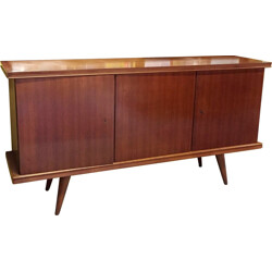 Teak Scandinavian sideboard with three lockable compartments - 1960s