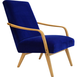 Ton Czech armchairs with compass legs in blue - 1960s
