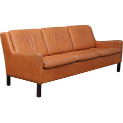 3-seater brown leather sofa - 1970s