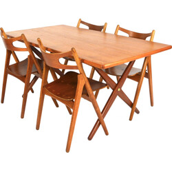 "Dining set ""AT-303"" with teak top table and ""Sawbuck"" chairs, Hans J. WEGNER - 1950s"