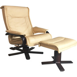 Mid century Norwegian leather reclining armchair and footstool - 1970