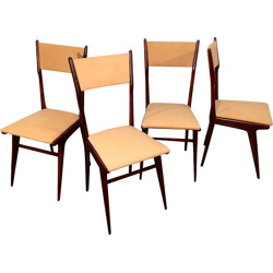 Set of 4 mid century beech dining chairs in camel color, Carlo DI CARLI - 1950s
