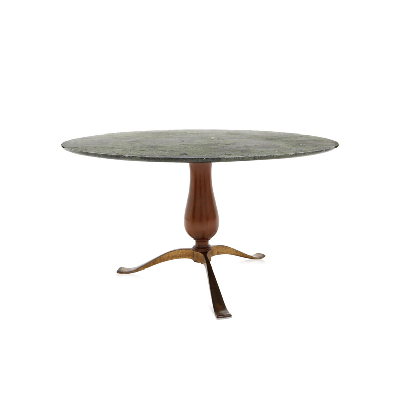 Green walnut and  marble coffee table, Osvaldo BORSANI - 1950s