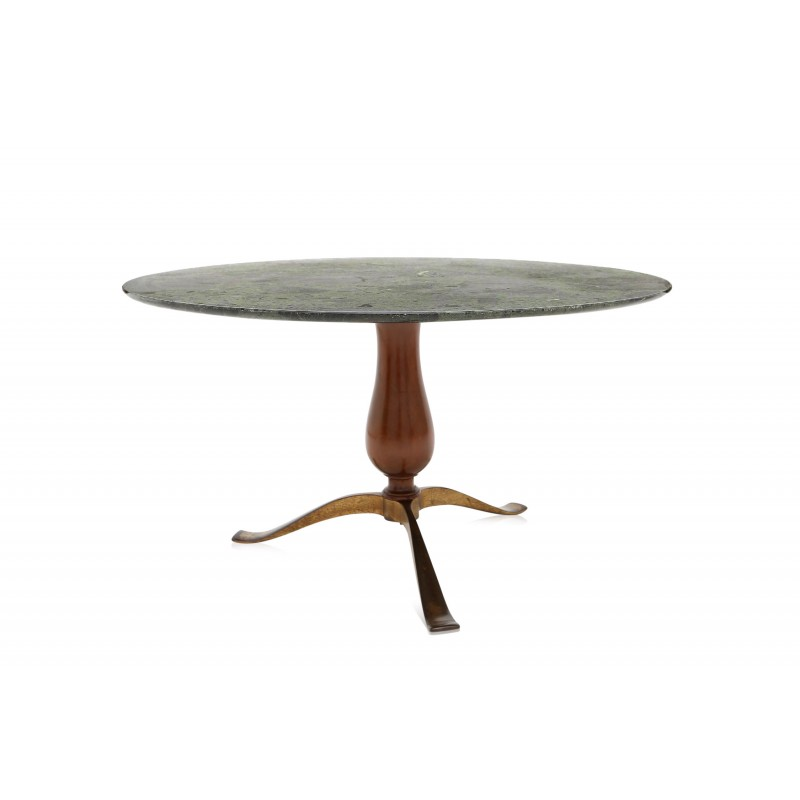 Green Walnut And Marble Coffee Table Osvaldo BORSANI S - Walnut and marble coffee table
