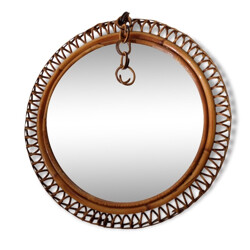 Rattan and velvet mirror with spiral border - 1940s
