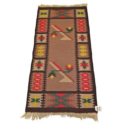 "Vintage ""Kilim"" multicoloured woolen carpet  - 1960s"