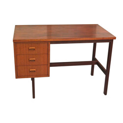 Rectangular wooden desk with multiple compartments - 1960s