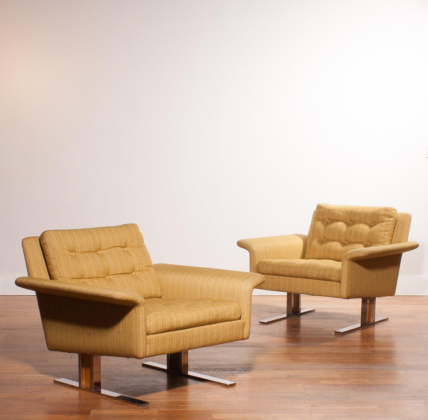 Pair of yellow Lounge Chairs, Johannes ANDERSEN - 1960s - Design Market
