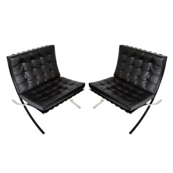 """Barcelona"" black low chair, Ludwig MIES VAN DER ROHE - 1970s"
