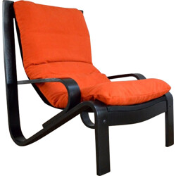 Scandinavian design armchair in orange and black - 1980s