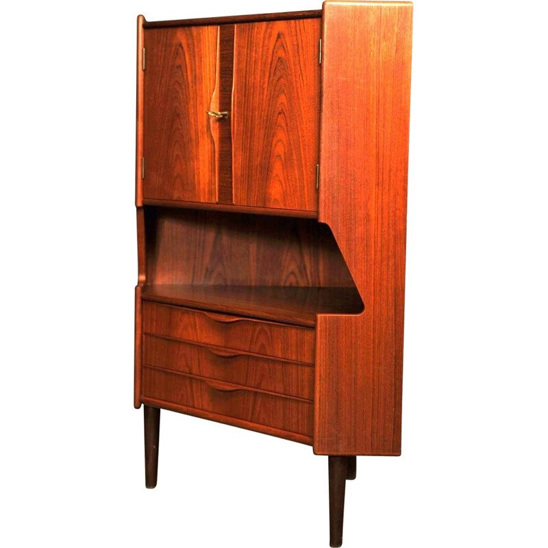 Teak corner bar in teak with lock, Gunni OMANN - 1970s