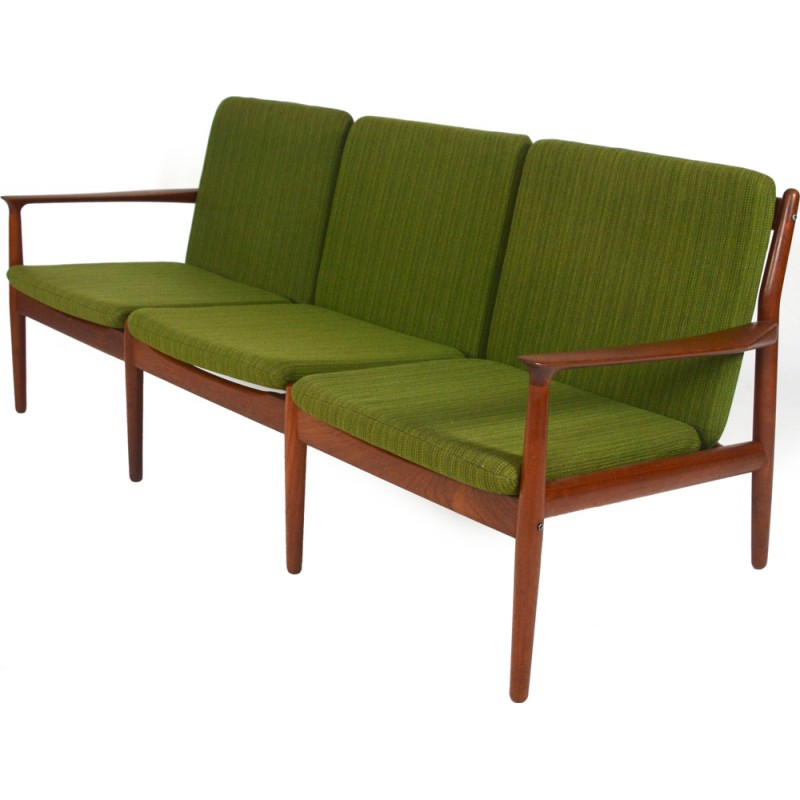 Glostrup green 3-seater sofa in teak and cotton, Grete JALK - 1960s