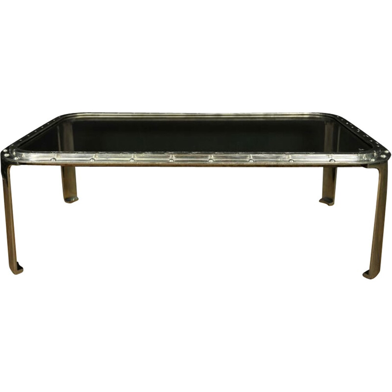 Steel and glass coffee table - 2000s