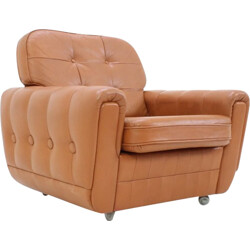 Mid-century light brown leather armchair with wheels - 1970s