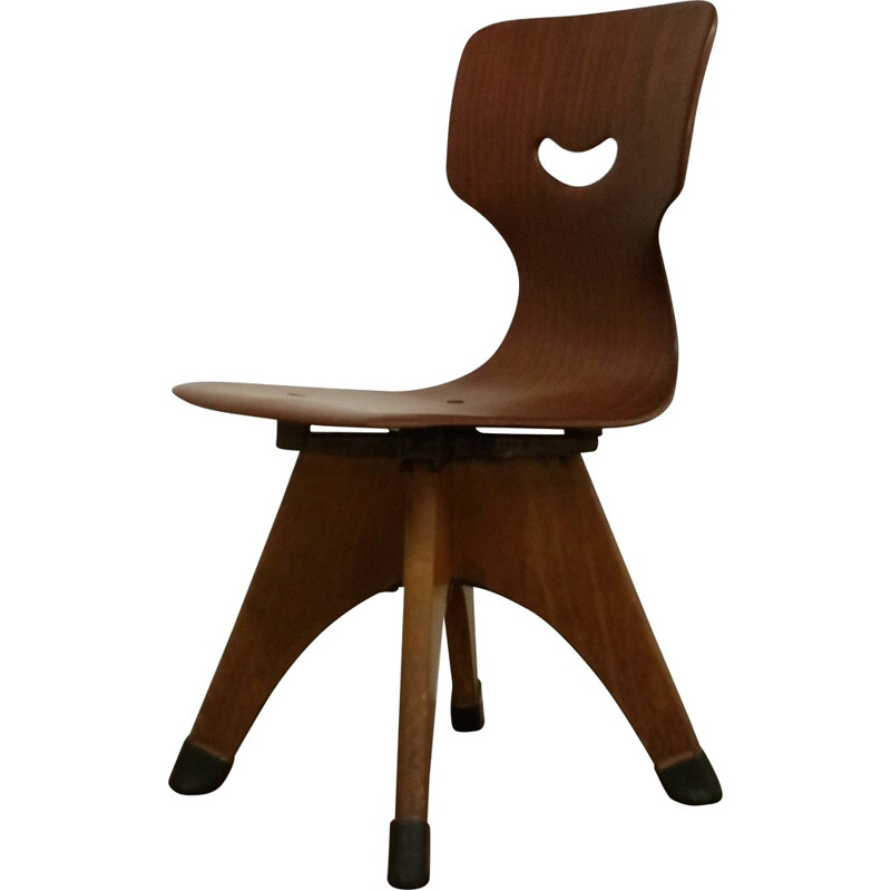 """Pagholz Flötotto """"15114"""" plywood and wooden school chair , Adam STEGNER- 1950s"""