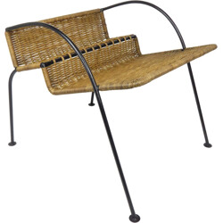 Magazine rack in woven rattan and metal - 1950s