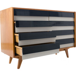 Mid century Interier Praha chest of drawers in oak and plastic, Jiri JIROUTEK - 1960s