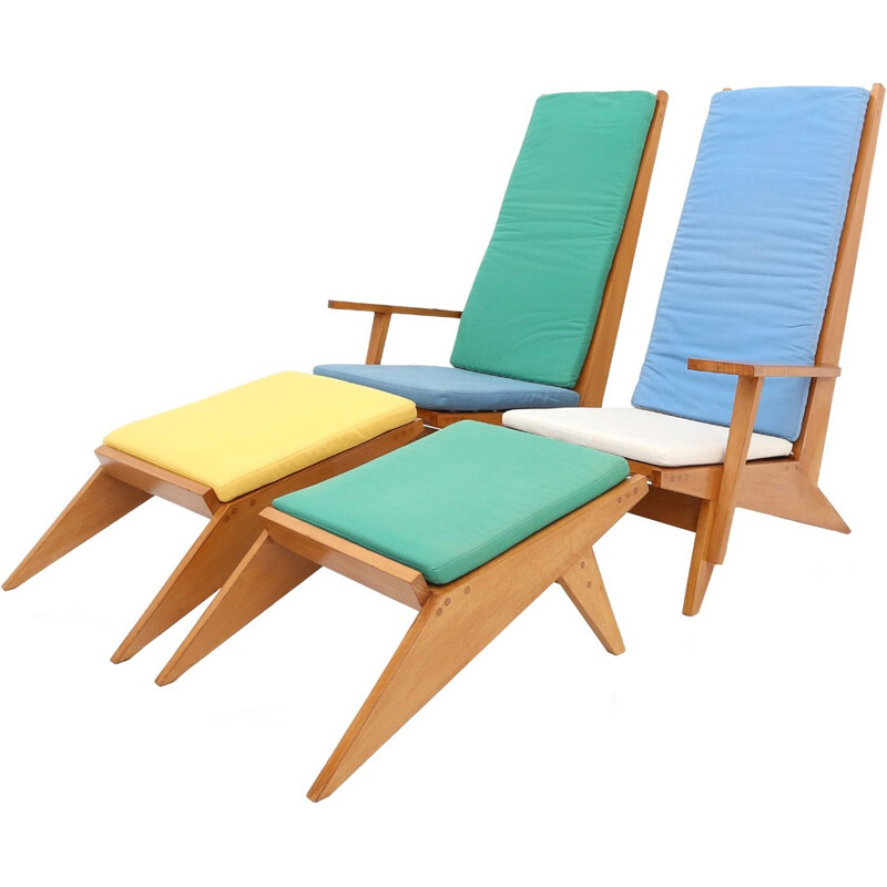 Pair of two swimming-pool lounge chairs and two ottomans in beech - 1970s