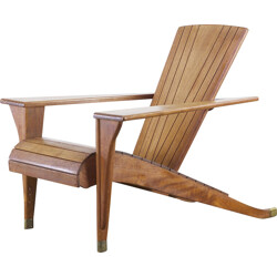 "Deckchair ""mediation"" in mahogany - 1980s"