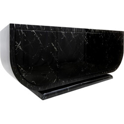 Italian imitation black marble lacquered sideboard - 1980s