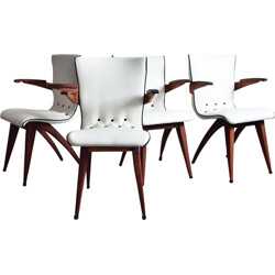 Set of 4 Swing chairs in leatherette, G. VAN OS - 1950s