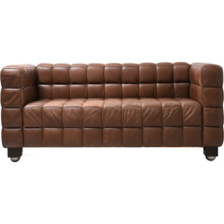 "Wittmann ""Kubus"" 2-seater brown wooden and leather sofa - 1970s"