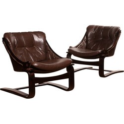 Pair of lounge chairs in brown leather - 1980s