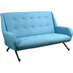 2-seater blue woolen and metal sofa - 1950s