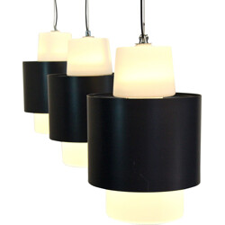 Set of 3 dutch hanging lamps in steel and frosted glass - 1960s