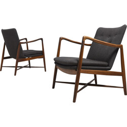 "Bovirke set of two ""BO59"" rosewood and fabric armchairs, Finn JUHL - 1950s"