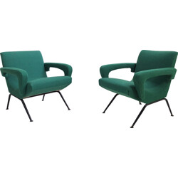 Pair of green fabric and black legs armchairs - 1950s