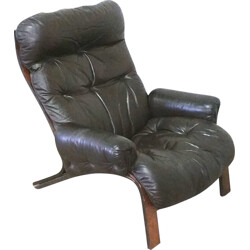 RyBo leather and rosewood armchair, Oddvin RYKKEN - 1970s