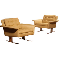Pair of yellow Lounge Chairs, Johannes ANDERSEN - 1960s
