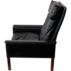 CS furniture black leather and rosewood armchair, Hans OLSEN - 1960s