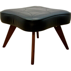 Danish ottoman in rosewood and black leatherette - 1960s