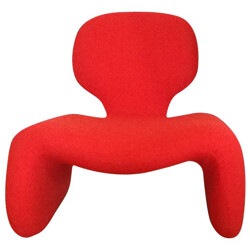 """""""Djinn"""" red low chair, Olivier MOURGUE - 1960s"""