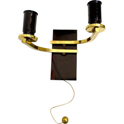 Brass and black double sconce - 1960s