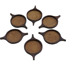 Set of 6 Candle holders or coasters by Skjode - 1960s